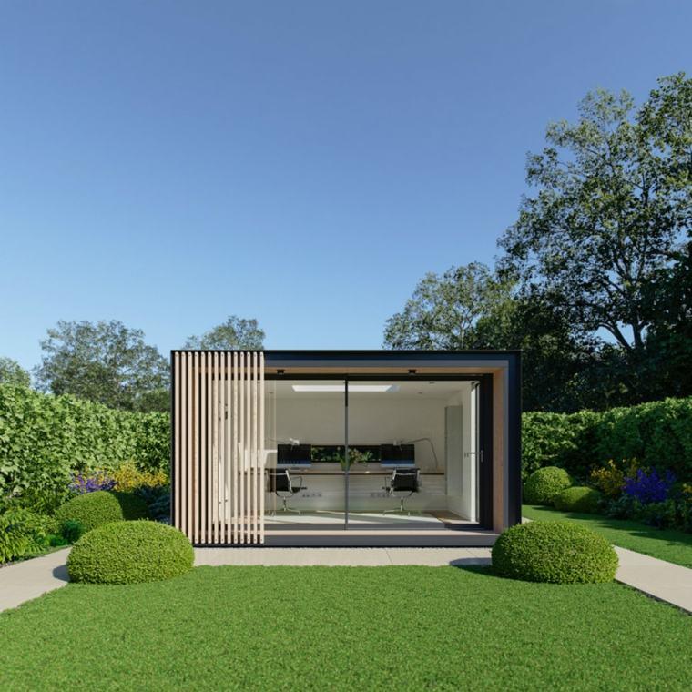 Oficinas modernas en el jard n 24 espacios creativos for Disenos de oficinas en casa