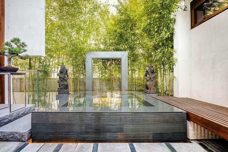 jardin moderno estanque fuente moderna