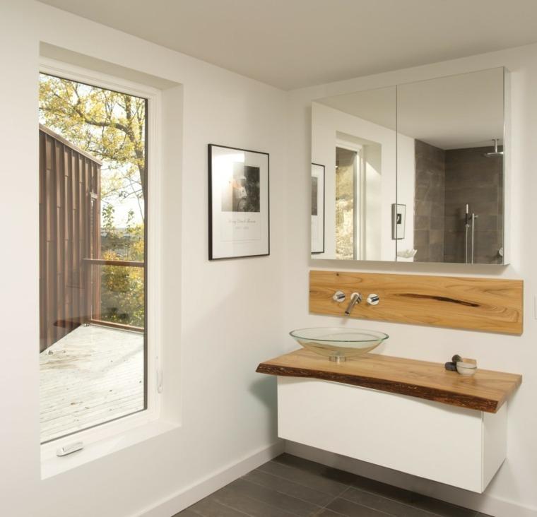 lavabo flotante blanco y madera