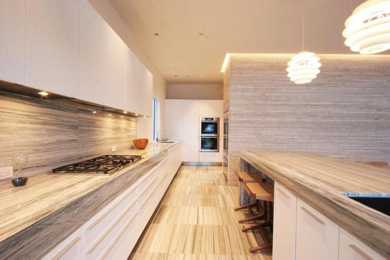 madera imitando piedra encimera salpicadero cocina ideas