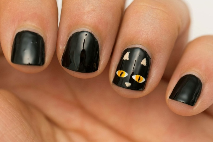 manicura gatos negro halloween ideas