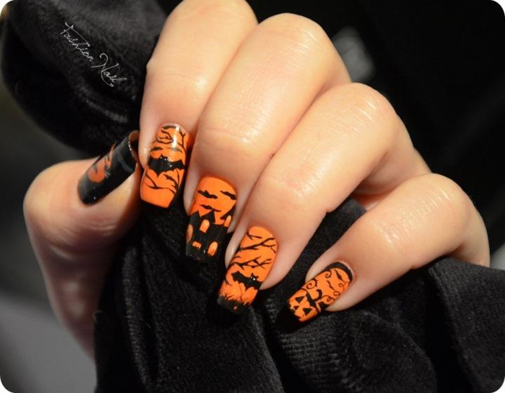 manicura halloween conceptos naranja elegantes