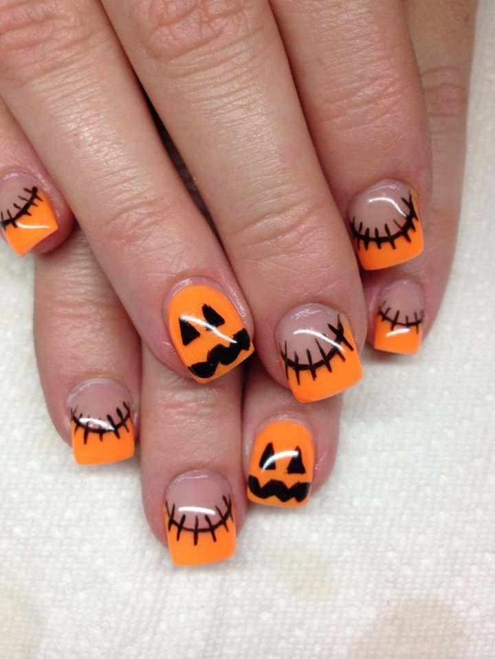 manicura inspirada halloween estilos naranja