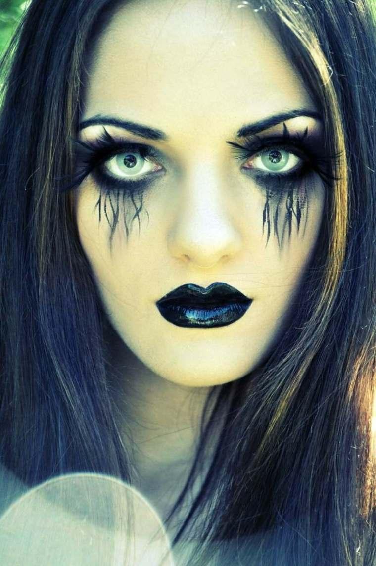 maquillaje para halloween negro pintalabios moderno ideas