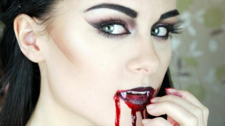maquillaje para halloween vampiresa sexy moderno ideas