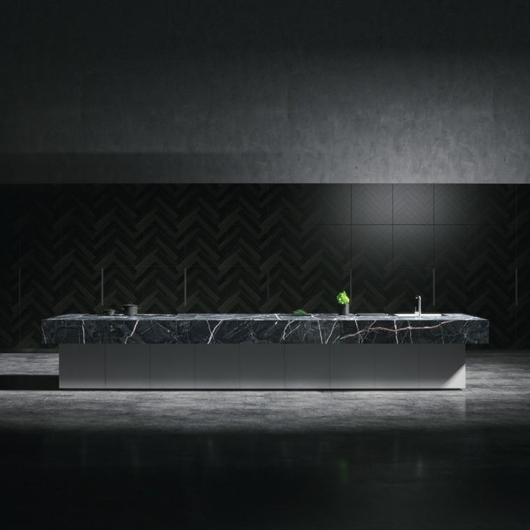 marmol negro cocina diseno moderno oscuro ideas