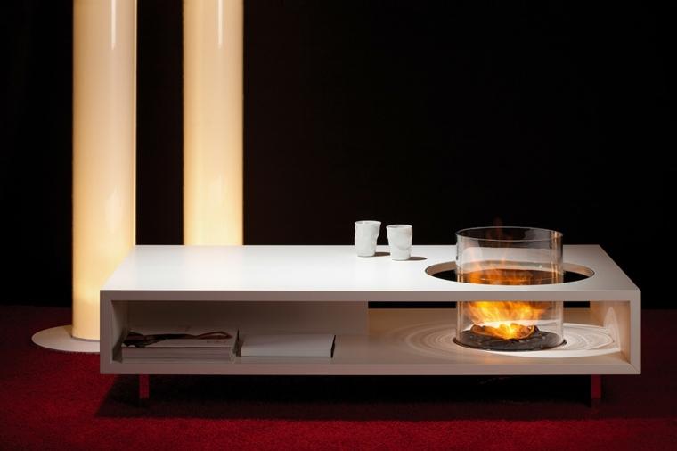 mesa blanca cilindro chimenea bioetanol