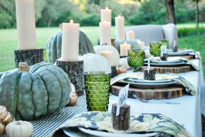 mesas el otoño calabazas centros verdes