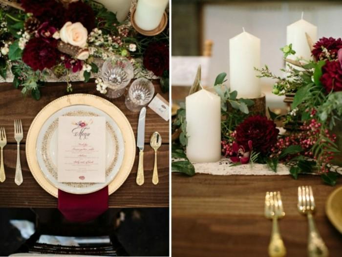 mesas el otoño flores elegantes velas