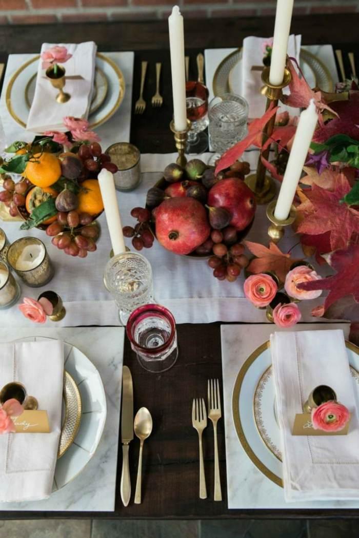 mesas el otoño velas frutas frutas