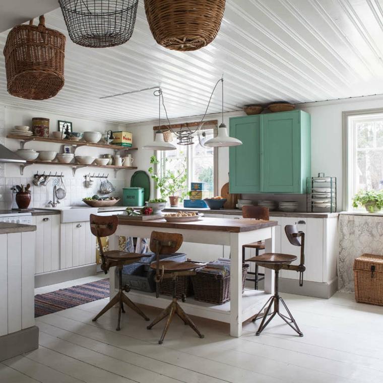 moderna cocina campestre muebles cestos colgando ideas