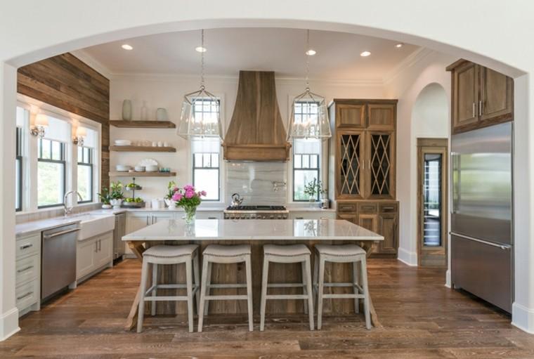 Muebles de cocina 36 ideas para un estilo campestre moderno for Cocinas campestres