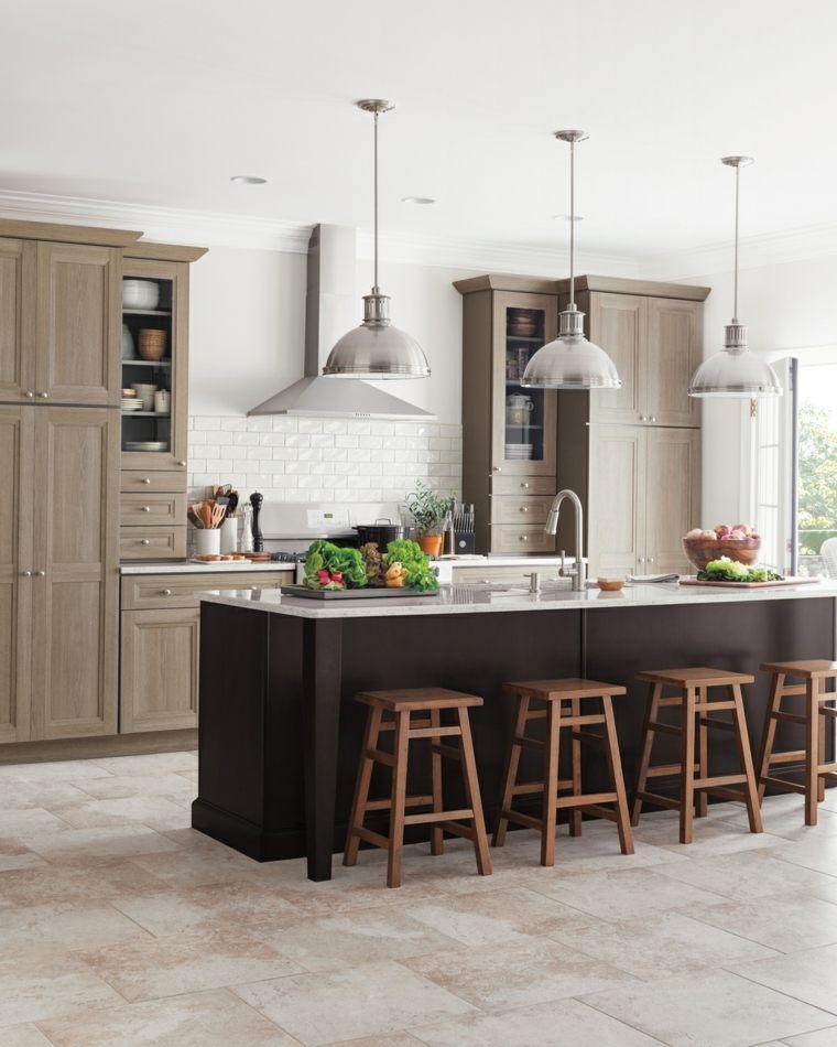 moderna cocina campestre muebles isla negra grande ideas