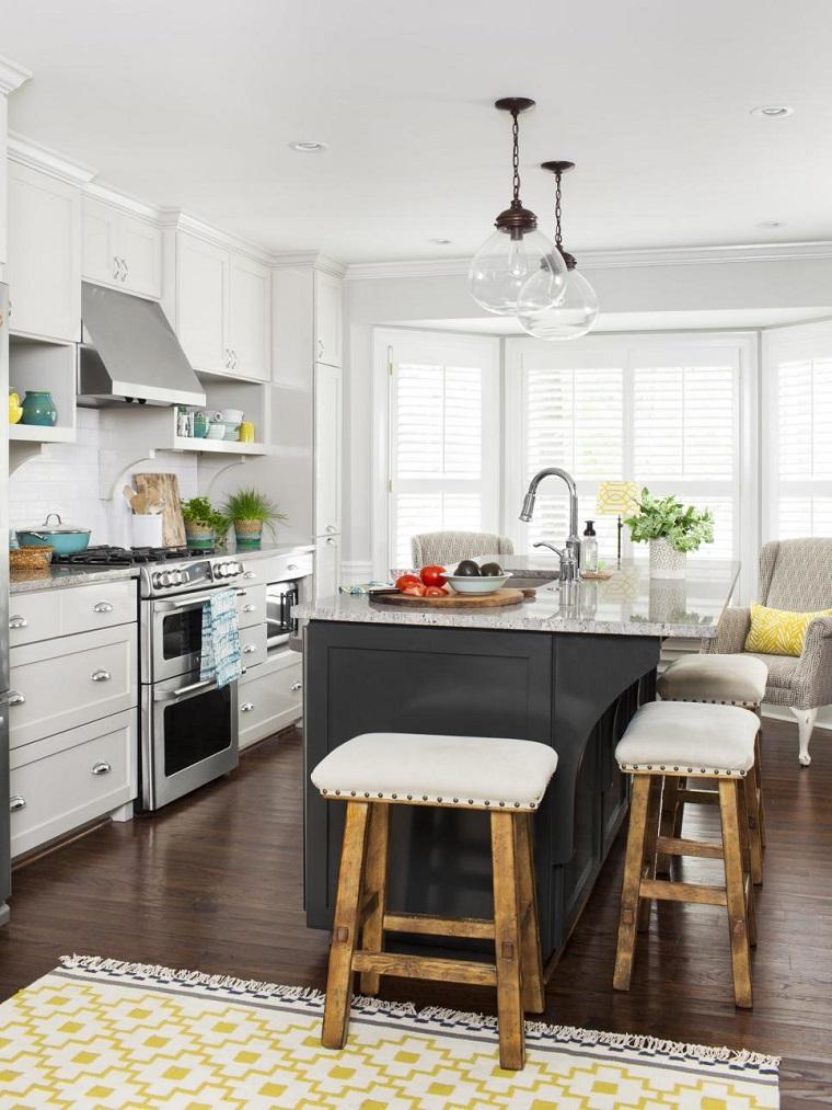 Muebles de cocina 36 ideas para un estilo campestre moderno - Muebles isla cocina ...
