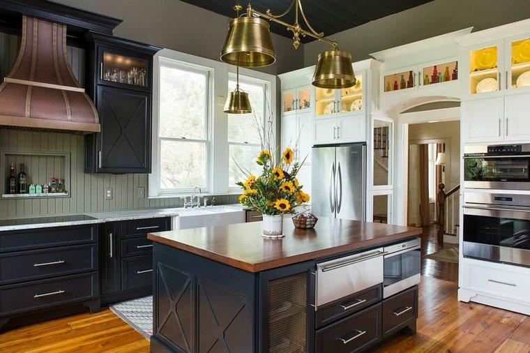 moderna cocina campestre muebles negros ideas