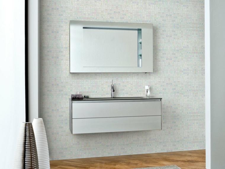 mueble lavabo flotante con espejos