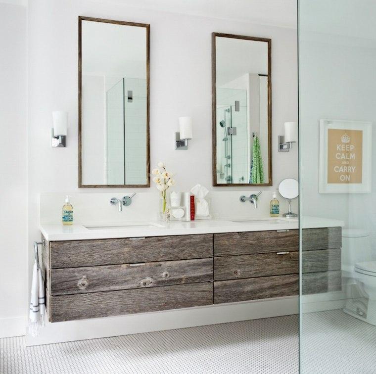 Original diseño de mueble lavabo de madera rústica
