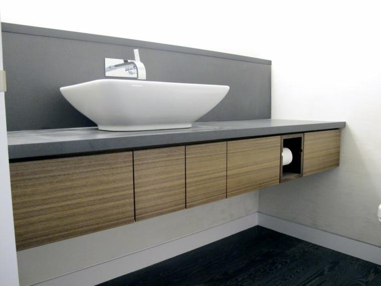 Tocadores y lavabos flotantes para el cuarto de ba o for Mueble lavabo madera