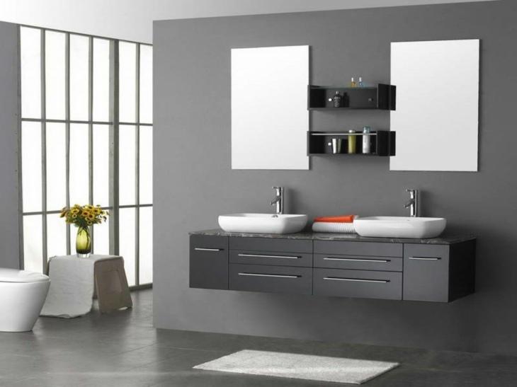 muebles color gris espejos flores
