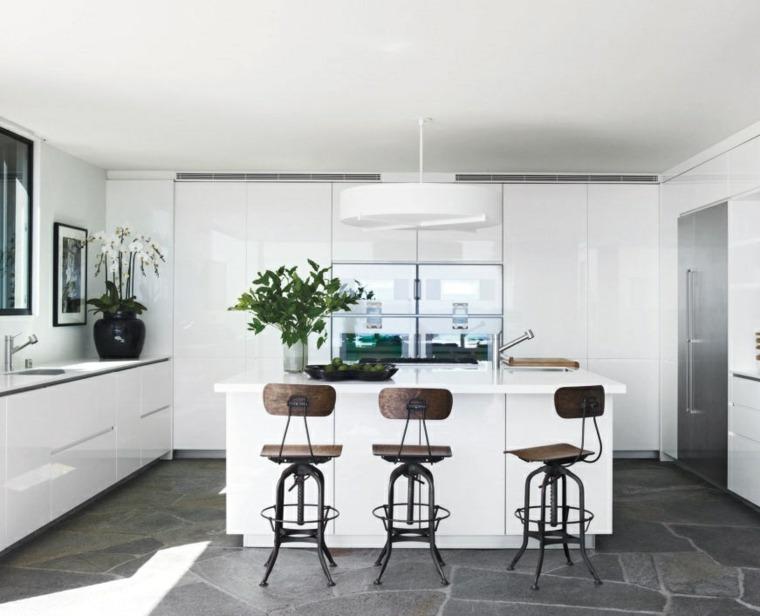 muebles de cocina blancos estilo moderno sillas bonitas ideas