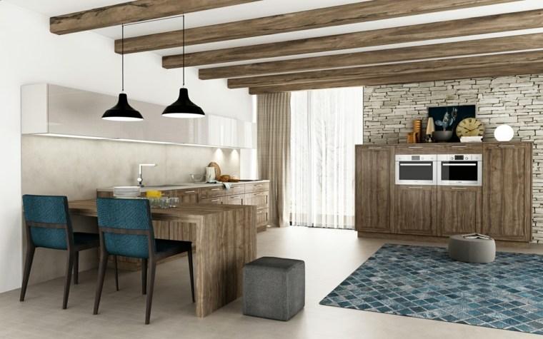 muebles de cocina estilo moderno campestre alfombra opciones ideas