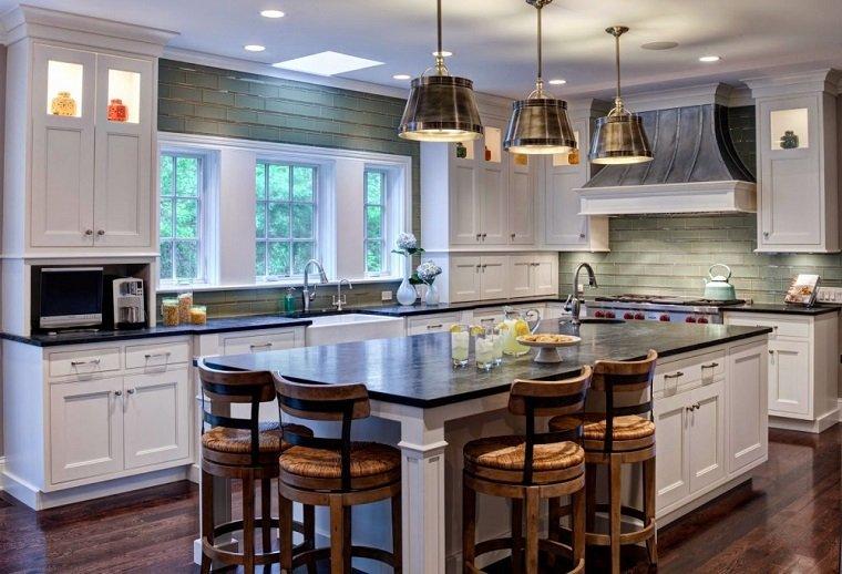 muebles cocina estilo moderno campestre isla blanca grande ideas