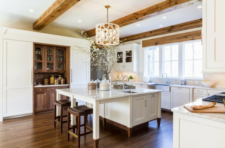 muebles cocina estilo moderno campestre isla cuadrada ideas