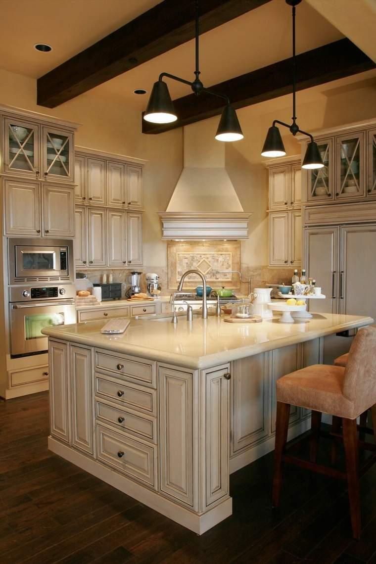 Muebles de cocina 36 ideas para un estilo campestre moderno for Muebles isla cocina