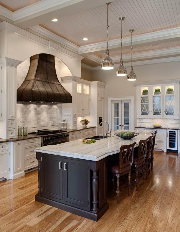 muebles cocina estilo moderno campestre isla grande negra ideas