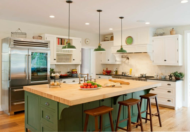 muebles cocina estilo moderno campestre isla grande verde ideas