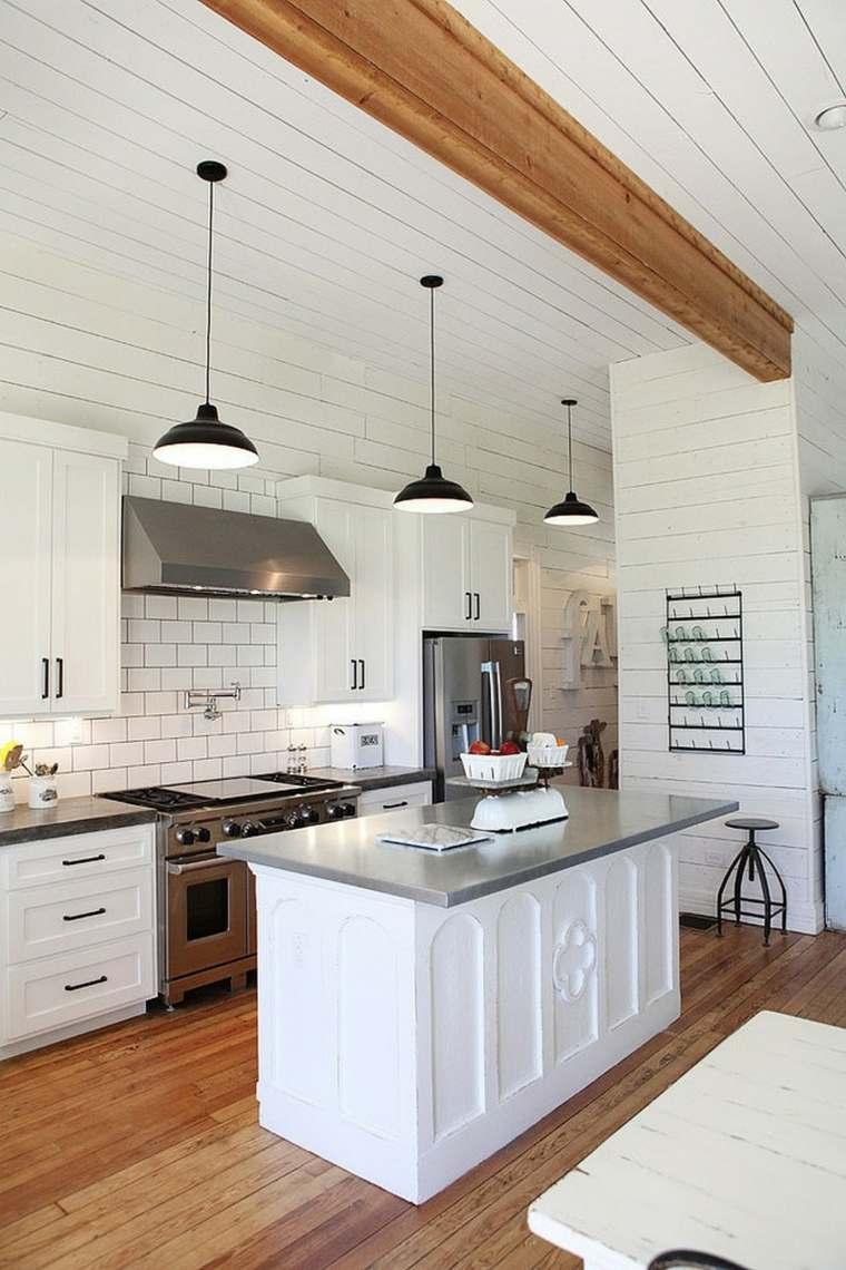 muebles cocina estilo moderno campestre isla pequena blanca ideas