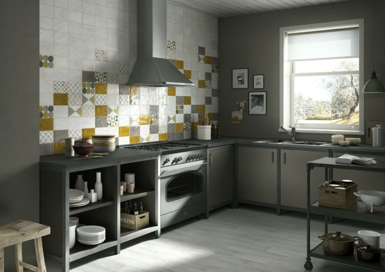 muebles cocina estilo moderno campestre losas pared ideas