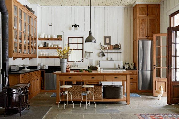 Muebles de cocina 36 ideas para un estilo campestre moderno for Cocinas estilo moderno