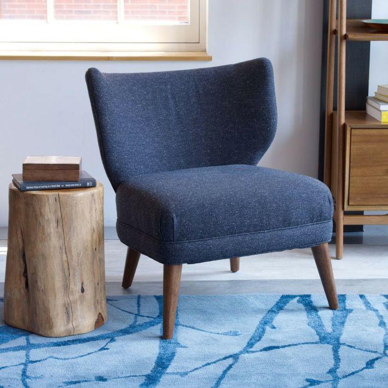 muebles de madera mesita auxiliar tronco sillon ideas