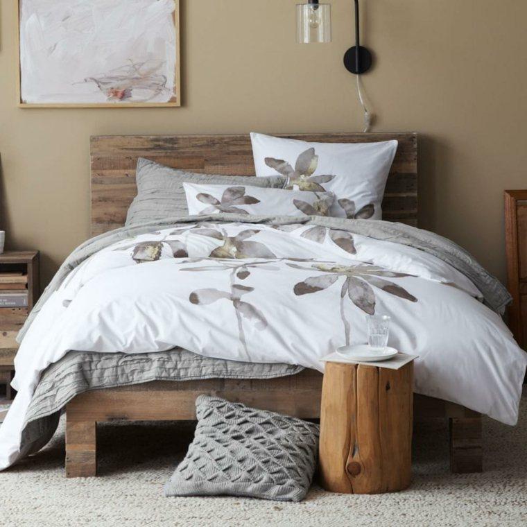 muebles de madera mesita cama madera diseno ideas