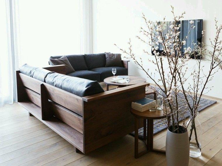 muebles madera mesita sofa preciosa salon ideas