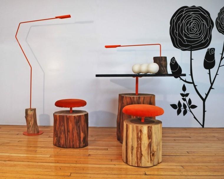 muebles madera mesita taburetes lampara ideas