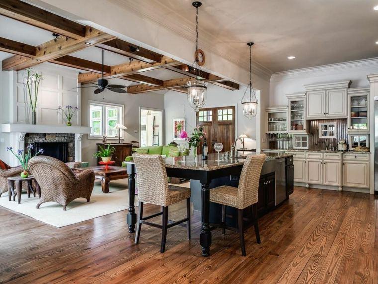 muebles madera cocina rustica columnas madera ideas