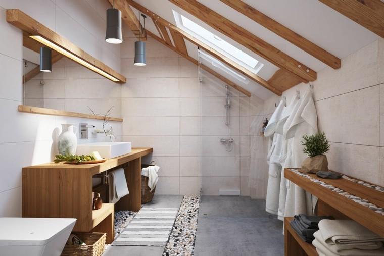Cuarto de baño de madera y piedra   42 diseños