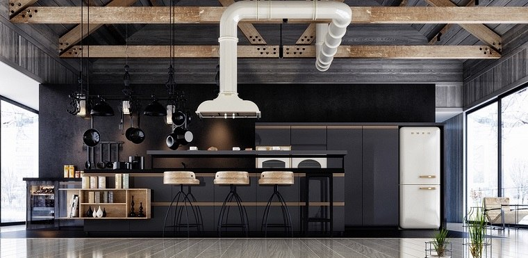Dise ar cocinas elegantes con muebles de color negro for Muebles de diseno industrial