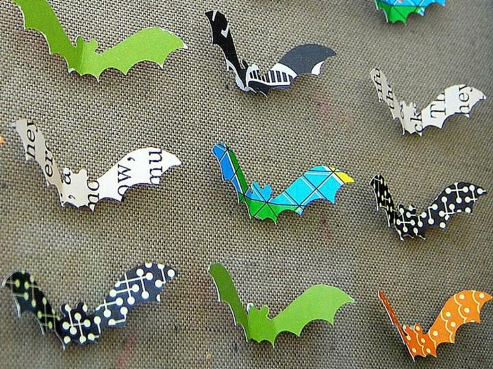 murcielagos colores reciclado papel colores