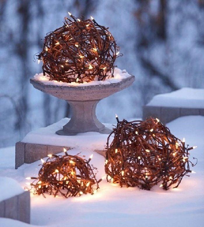 navidad iluminacion exterior diy color esferas