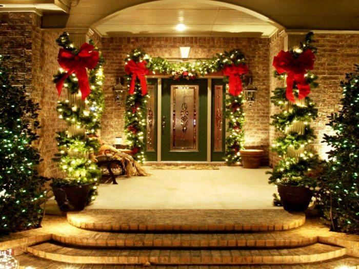 navidad iluminacion exterior entradas macetas