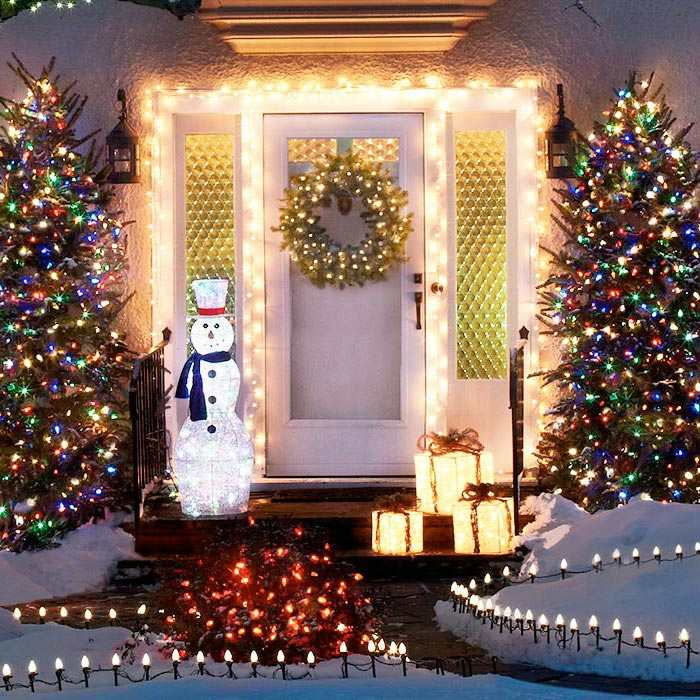 navidad iluminacion exterior muestras coronas