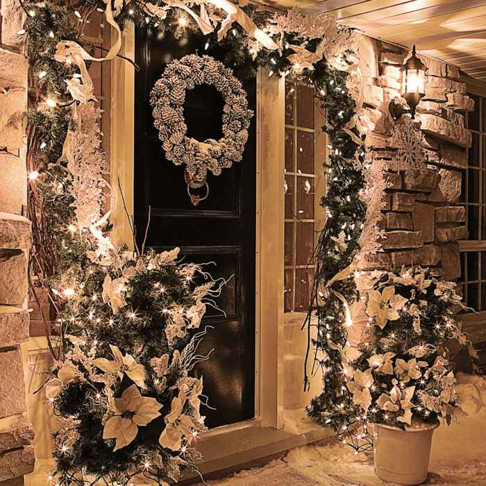 navidad iluminacion exterior puertas coronas
