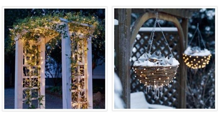 navidad iluminacion exterior ideas macetas