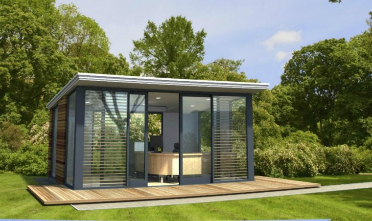 oficinas modernas jardin diseno cristales luz natural ideas