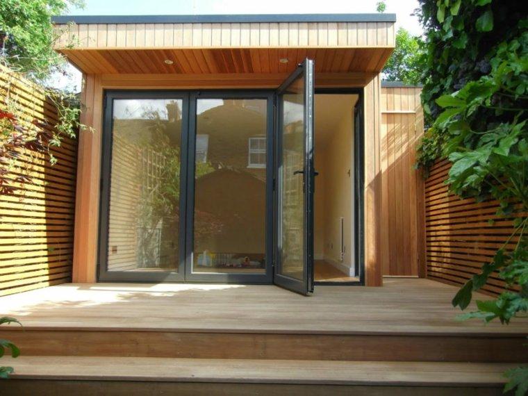 oficinas modernas jardin diseno madera suelo ideas