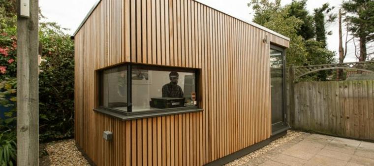 oficinas modernas jardin diseno madera ventana pequena ideas