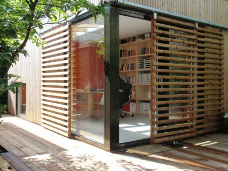 oficina moderna jardin diseno original esquina casa ideas